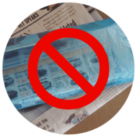 Please remove newspapers from plastic bags